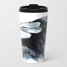 Raven, Watercolor Metal Travel Mug
