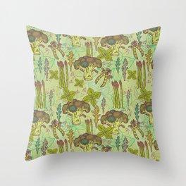 Green vegetables pattern. Throw Pillow