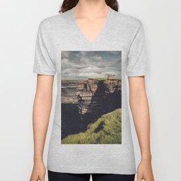 Irish Sea Cliffs Unisex V-Neck