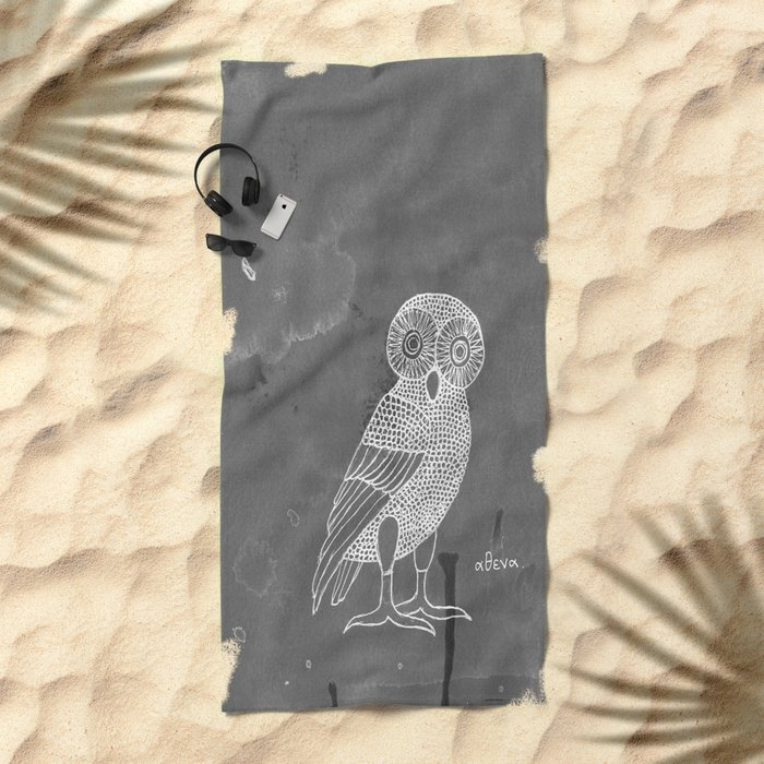 ATHENA'S OWL IN GREY BACKGROUND  Beach Towel