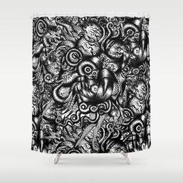 Spaceship Girl_Black Shower Curtain