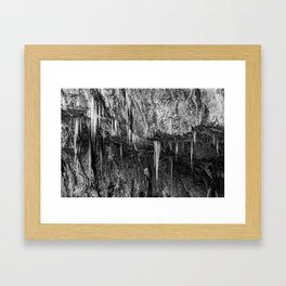 Ice columns in cave Framed Art Print