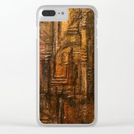 Rich Brown Bronze Heavy Textured Acrylic Painting Clear iPhone Case