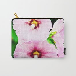 Pink Hollyhocks Cluster Carry-All Pouch