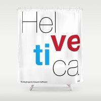 helvetica Shower Curtains featuring Helvetica by Ana Guillén Fernández