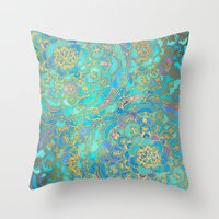 stained glass Throw Pillows featuring Sapphire & Jade Stained Glass Mandalas by micklyn