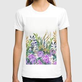 Gold Glitter Purple Garden T-shirt