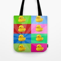 duck Tote Bags featuring duck by mark ashkenazi