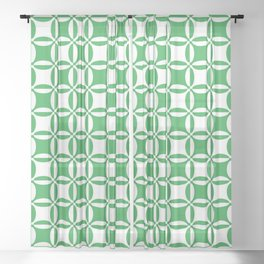 Geometry illusion in green Sheer Curtain