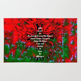 Serenity Prayer Inspirational Quote With Creative Motivational Art Rug