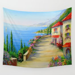 The town by the sea Wall Tapestry