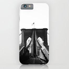 Black and White Brooklyn Bridge at Sunrise iPhone Case