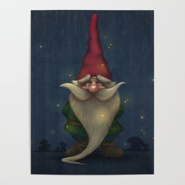 Old Christmas Gnome Poster