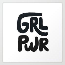 Grl Pwr black and white Art Print
