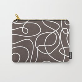 Doodle Line Art | White Lines on Brown Carry-All Pouch