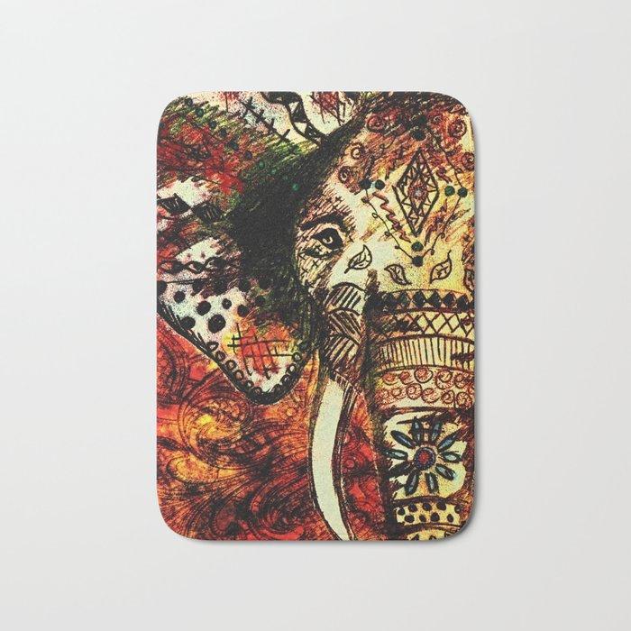 Patterned Sketched Elephant Bath Mat