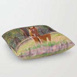 horse in pasture Floor Pillow