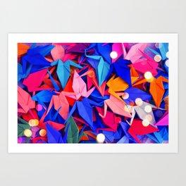 Senbazuru | pink and blues Art Print
