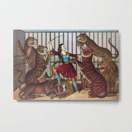The Lion Queen - Vintage Circus Art, 1873 Metal Print