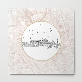Roma (Rome), Italy, Europe City Skyline Illustration Drawing Metal Print