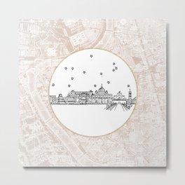 Roma (Rome), Italy, Europe City Skyline Illustration Drawing Metal Print