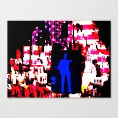 Blue man in US landscape  Canvas Print