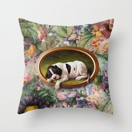 A small joke with a dog Throw Pillow