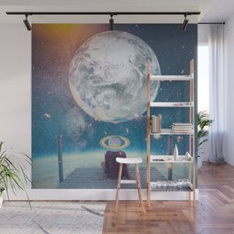 Space boy waiting for mom Wall Mural