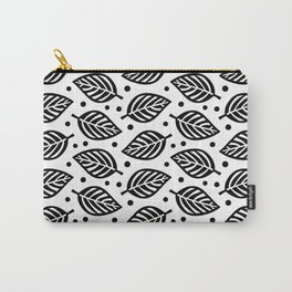 Mid Century Modern Falling Leaves Black and White 2 Carry-All Pouch