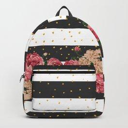 Modern black stripes gold faux glitter floral Backpack