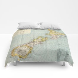 Vintage Map of New Zealand (1883) Comforters