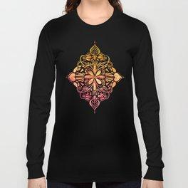Sunset Art Nouveau Watercolor Doodle Long Sleeve T-shirt