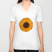 sunflower V-neck T-shirts featuring Sunflower by Imagology