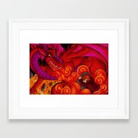 smaug Framed Art Prints featuring Smaug by Art By Emmy Kay