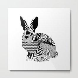 Rabbit floral Metal Print