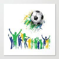 world cup Canvas Prints featuring World Cup Fever by Robin Curtiss