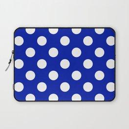 Blue (Pantone) - blue - White Polka Dots - Pois Pattern Laptop Sleeve