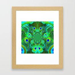Ornate Green-Gold-Purple Peacock Feathers Art Framed Art Print