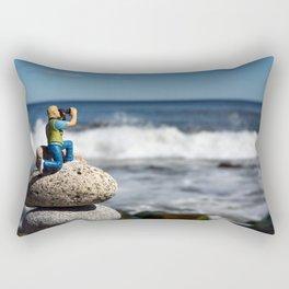 Little Lon Photographing the Waves at Narragansett Beach Rectangular Pillow