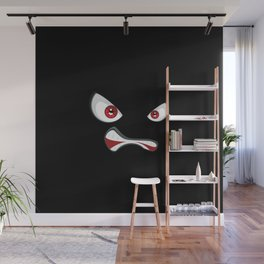 Angry face with red eyes Wall Mural