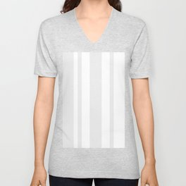 Mixed Vertical Stripes - White and Pale Gray Unisex V-Neck