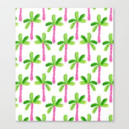 Watercolor Palm Trees in Pink Canvas Print