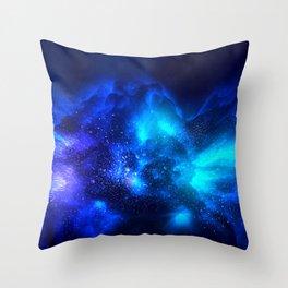 Abstract Nebula #7: Blue bang Throw Pillow