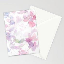 Blooming blush and purple watrclolor Stationery Cards