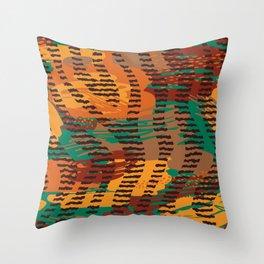 Abstract orange jade brown safari geometrical print Throw Pillow