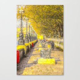 River Thames Path Watercolour Canvas Print