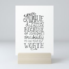 Your Value Quote - Hand Lettering Black Ink Mini Art Print