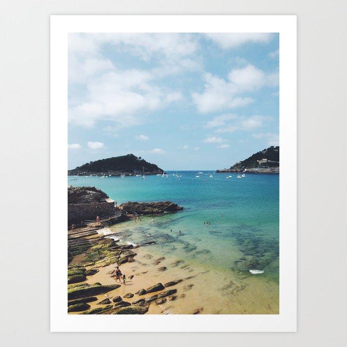 Summer in Donostia San Sebastian Spain Beach Art Print