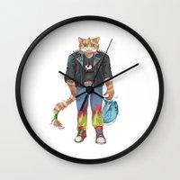 katamari Wall Clocks featuring The Exploited Punk cat by Kami-katamari