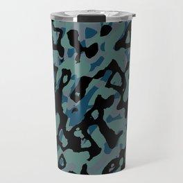 blue camo Travel Mug